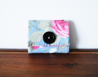 CLEARANCE-- Upcycled Blue and Pink Floral Cotton Business Card Holder with Black Button