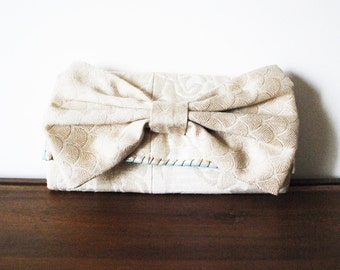 Sparkly Embossed Floral Ivory Envelope Fabric Clutch Wallet with Cream Bow