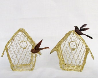 Gold Wire Mesh 2 Small Birdhouses Shabby Chic or Victorian