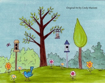 "Nursery Decor Illustrated Print for Bird Lovers ""Early Bird"""