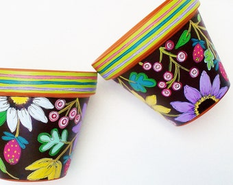 "Hand Painted Terracotta Pot 4 Inch Planter ""Brightly"" Made to Order"