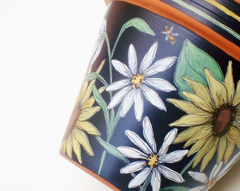 """Hand Painted Flower Pot,  """"Sunflowers"""" 6 Inch Terracotta Planter-Made to Order"""