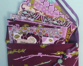 SIX  Designer Fabric Cash Envelopes with Designer Carrier