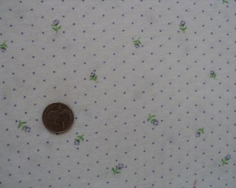 Purple Floral Double Knit Polyester Fabric - 1 yard long x 60 inches wide