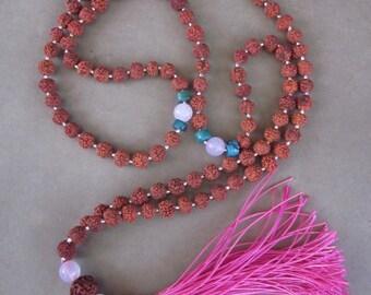 Mala Rudraksha 108 bead Silver 925 turquoise rose quartz / 35 inches long