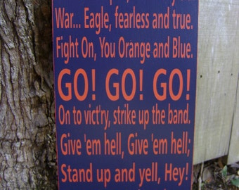 Auburn Fight Song Subway Style Sign, Auburn University, War Eagle, University Fight Song