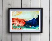Original Watercolor- 13x19 Print - Fine Art Custom Painting- Giclee Watercolor Red/Blue/Green