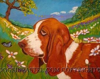 Basset Hound Dog  art painting pet portrait Spring ORIGINAL daisies dog art oil pastel landscape hound