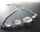 Faceted Oval Rainbow Moonstone Smokey Quartz Necklace Sterling Silver AAAA