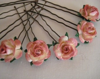 Coral/Copper Rose Hairpins x 8. HANDMADE.