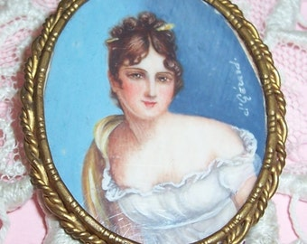 Antique, FRENCH signed Hand Painted Lady miniature Portrait in Brass Frame...Pin, Brooch, Pendant...SALE