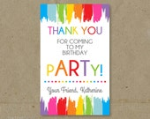 Art Painting Birthday Party Thank You Tags Favors - Printable DIY