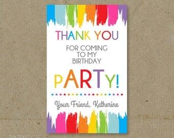 Art Party, Art Birthday Party, Art Party Thank You Tags, Art Party Thank You Notes, Painting Birthday Party, Painting Party Tags, Thank Yous