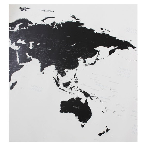 Black And White World Map Rug: Black And White World Map Simple Is The Best Draw Your