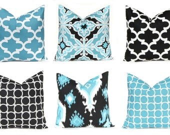 Pillows, Black Pillows, Blue Pillows, Decorative Throw Pillow Covers, Cushion Covers, Toss Pillows, Ikat Chain Floral Home and Living