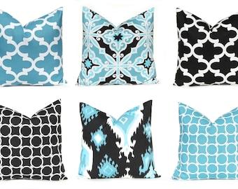 Throw Pillow Covers - Black Pillow Cover - Black Cushion Cover - Decorative Pillow Covers- Blue Pillow Cover - Ikat Pillow - Sofa Pillow