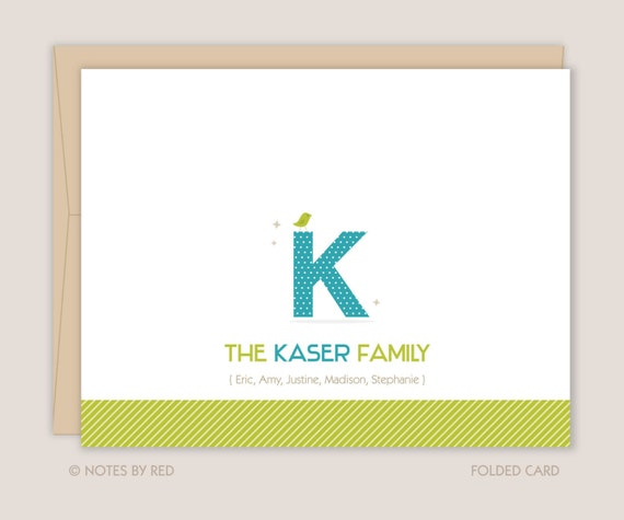 Personalized Stationery, Monogram Family Personalized Stationery, Thank You Notes (Set of 10)