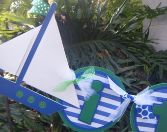 """Nautical Sailboat and anchor """"it's a boy"""" BANNER in blue, green and white"""
