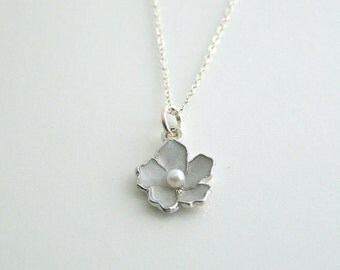 White, sakura, flower, silver, necklace - CHLOE