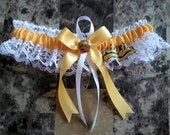The Single Oakland A's white lace Wedding Garter set any size color or style