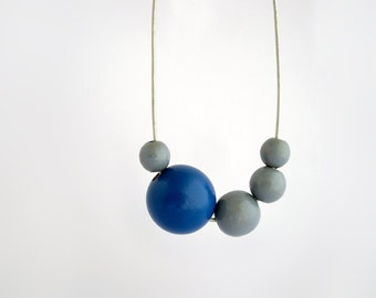 Blue grey long wooden necklace, asymmetric necklace, eco friendly jewelry, wood necklace, minimal jewelry