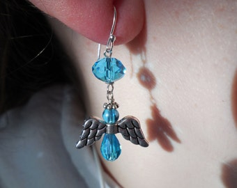 Turquoise Colored Angel Pierced Earrings