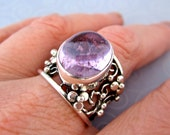 Sterling Kunzite Filigree Ring with flowers size 8