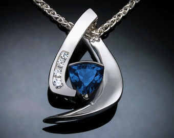 London blue topaz necklace, December birthstone, Mother's day, Argentium silver, white sapphires, Christmas gift, contemporary jewelry 3369
