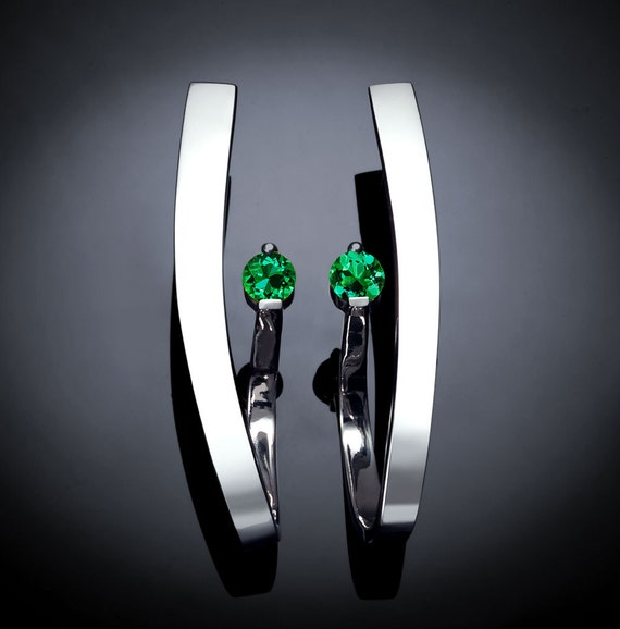 emerald earrings, May birthstone, statement earrings, Christmas earrings, dangle earrings, Argentium silver, green earrings, for her - 2001