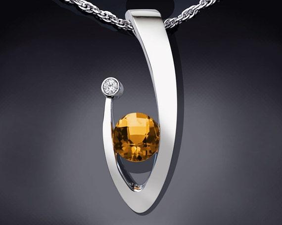 citrine necklace, November birthstone, statement necklace, white sapphire, Argentium silver pendant, modern necklace, for her - 3418
