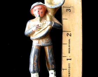 """Vintage Lead TUBA Player Military  Man  3 1/4"""" tall Musical Instrumnent"""