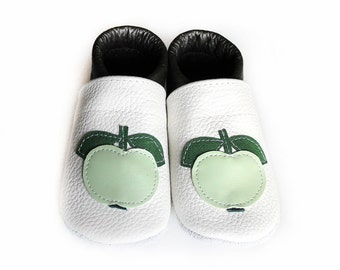 Leather Baby Booties, Baby Shoes, White Green Infant Newborn Nursery Children Apple