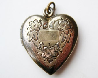 Vintage Gold Vermeil Sterling Silver Sweetheart Heart Shaped Locket Necklace Pendant