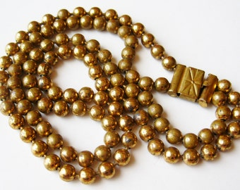 Vintage 30s Art Deco Brass Double Strand Ball Chain Choker Necklace