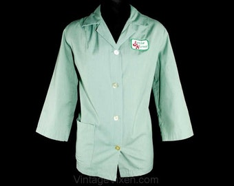 Size 14 Diner Style Top - Kitsch 1960s Service Hostess Uniform Shirt - Embroidered Logo - Smock Style Jacket -  Large - Bust 41.5 - 39280