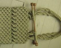macrame purse macrame shoulder bag hippie boho chic 1970s handmade wooden handles