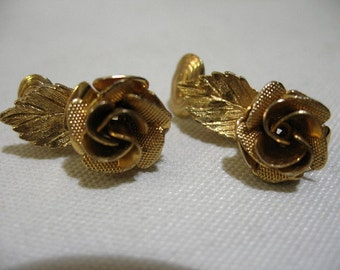 Vintage Gold Tone Rose Ear Clips