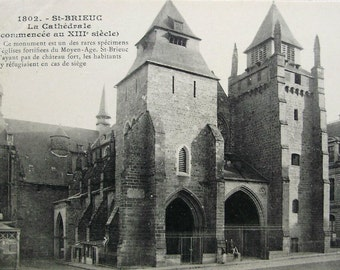 Cathedral at St. Brieuc, Brittany, France - Unused Vintage Postcard