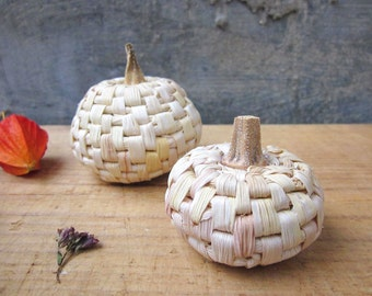 Small handmade pumpkins, home decoration, natural maize foliage, table decor, set of 2