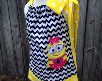 Minion Girl Dress size 18 months up to Size 14