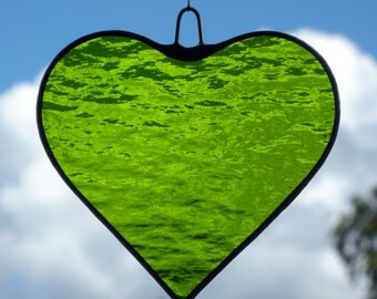 Stained Glass hanging ornament (Love Heart) Moss Green