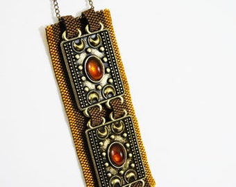 MOTHERS DAY SALE (Regular 85USD) - Geometric Jewelry Peyote Stitch Beaded Necklace Bronze Amber Beauty