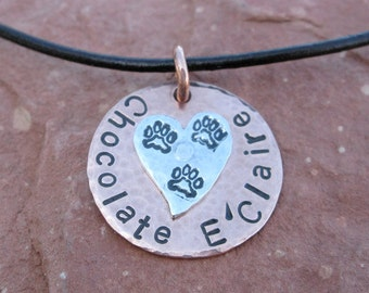Custom Metal Stamped Tripawd Charm with Sterling Silver, Copper