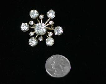 Vintage Rhinestone Flower or Star Shaped Brooch