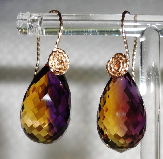 33 cts Natural Briolette cut Bolivia Bi-Color Ametrine 14kt yellow gold Pierced Earrings