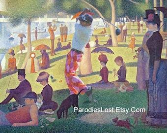 GOLF Print SEURAT Sunday Afternoon Island la Grande Jatte Golfer Golfing Art Masterpiece