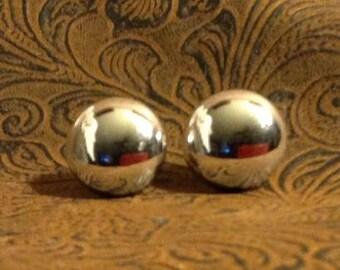 Big Shiny Silver Post Earrings