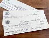 SET of 20 vintage 1920s checks ephemera mixed media