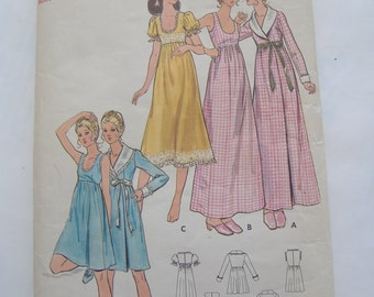 Butterick 6048, Misses' Robe and Gown, Size 10, Bust 32 1/2