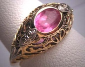 Antique Pink Ruby Wedding Ring Vintage Art Deco Filigree Gold and White Gold 1920s